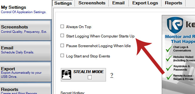 Keylogger Settings for PC Monitoring
